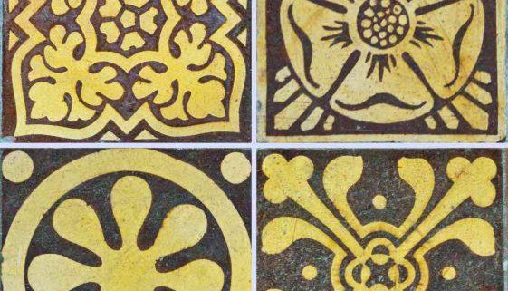Tile Floor Encaustic Foliage Victorian 19th Century Membury